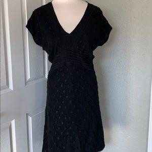 Vintage V-neck Short Sleeve Textured A Line Dress